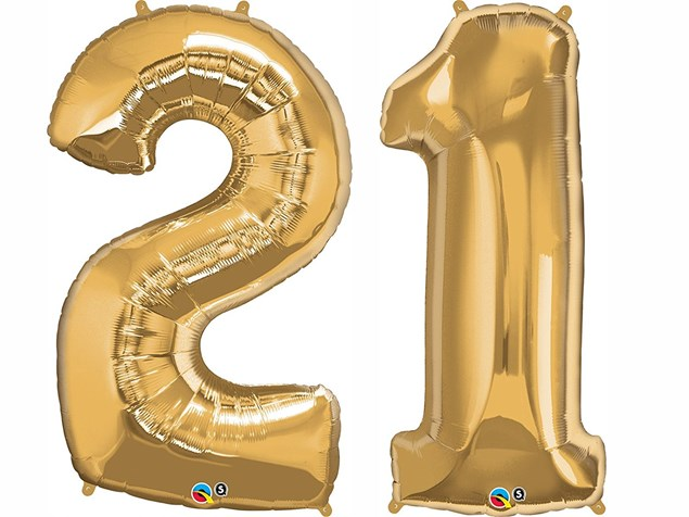 """Qualatex Gold Giant 34"""" Number '21' Foil Balloon Pack"""