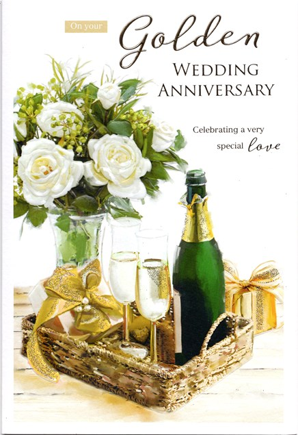 Anniversary 50th Card - Golden Champagne & White Roses
