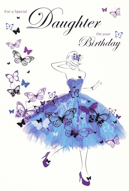 Birthday Daughter Card - Blue Dress & Butterflies