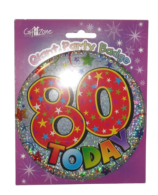 Party Badge 80 Birthday '80 Today' Large Badge - Stars & Swirls