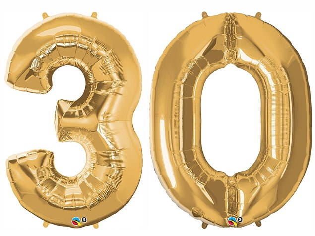 """Qualatex Gold Giant 34"""" Number '30' Foil Balloon Pack"""