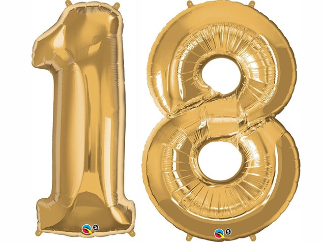 """Qualatex Gold Giant 34"""" Number '18' Foil Balloon Pack"""