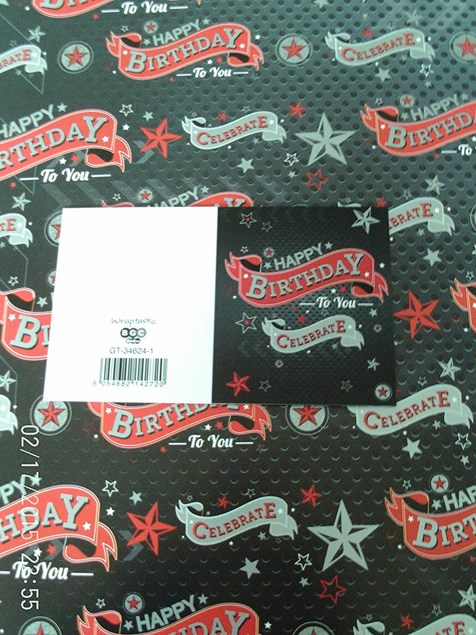 Gift Wrap Birthday Male Deluxe Wrapping Paper - 2 Sheets & Matching Tag