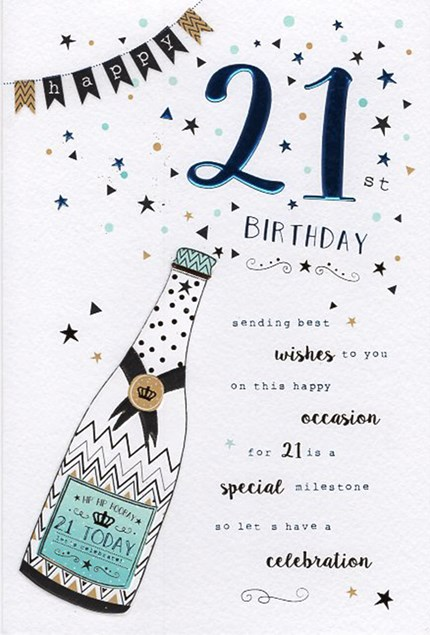 Birthday Age 21 Card - Champagne Bottle
