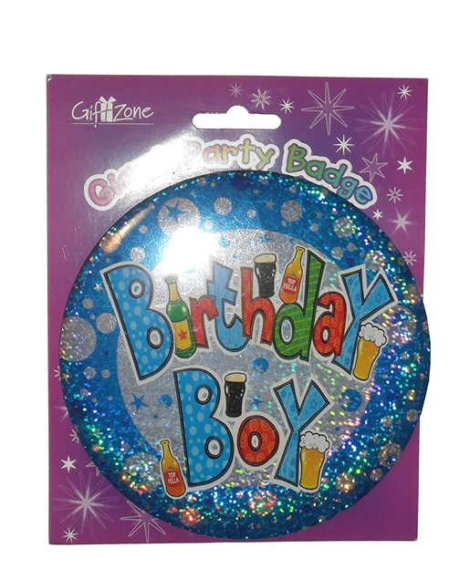 Blue Holographic Large 'Birthday Boy' Badge with Beer Pattern