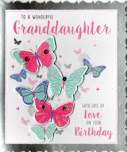 Birthday Granddaughter Card - Multicoloured Butterflies