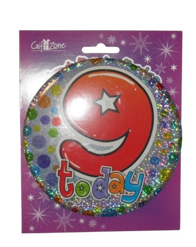 Party All Ages Badge 9 Birthday '9 Today' Large Badge - Circles