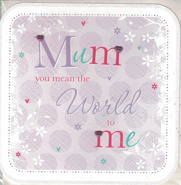 Birthday Mum Card - 'You Mean The World To Me'