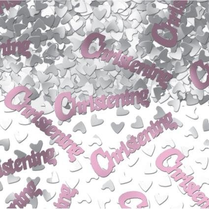 Party Christening Confetti - Pink and Silver Hearts