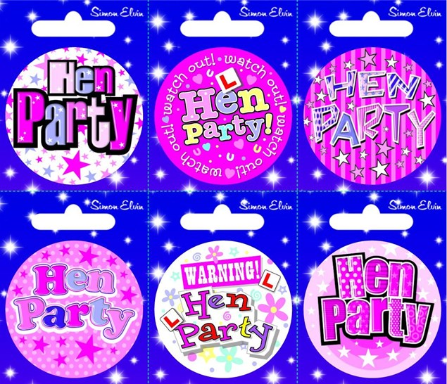 Party Badge Hen Night Small Badges 6 Pack - Various Designs