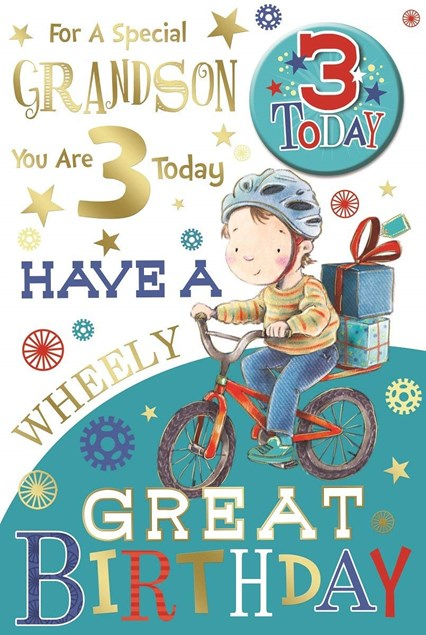 Birthday 3rd Grandson Card - Bike & Presents