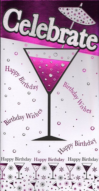 Birthday Open Celebrate Card - Cocktail Glasses