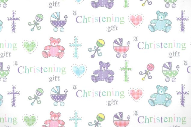 Gift Wrap Christening Cute Bears & Prams Deluxe Wrapping Paper - 2 Sheets