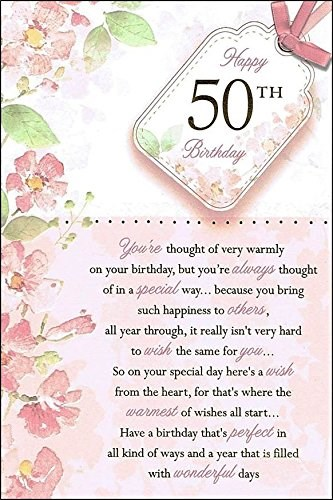 Birthday Age 50th Card - Pink Watercolour Flowers