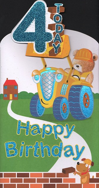 Birthday 4 Today Card - Digger & Cute Bear