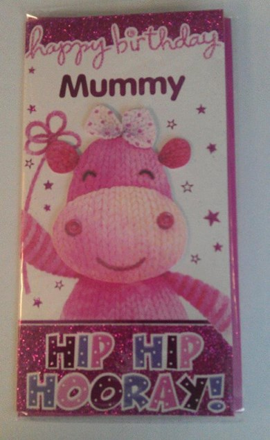Birthday Mummy Card - Cute Pink Knitted Hippo