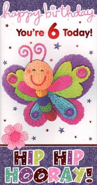 Birthday 6 Today Card - Cute Butterfly
