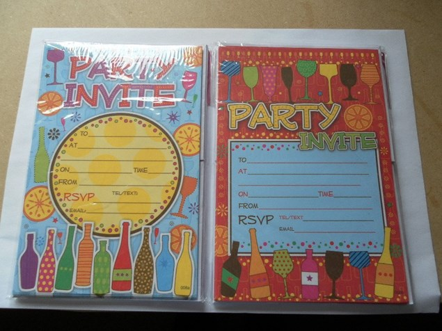 Party Invitations Pack Of 20 - Wine Glasses & Bottles