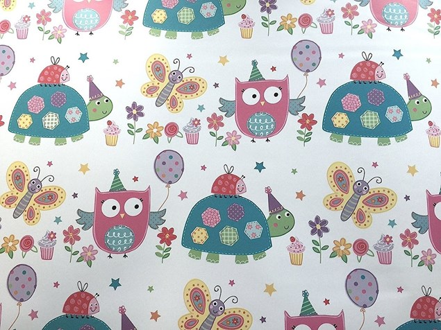 Cute Birthday Girl Gift Wrap Woodland Animals Design - 2 Sheets & 1 Tag