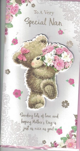Mother's Day Nan Card - 3D Teddy Bear Embellishment Surrounded By Flowers