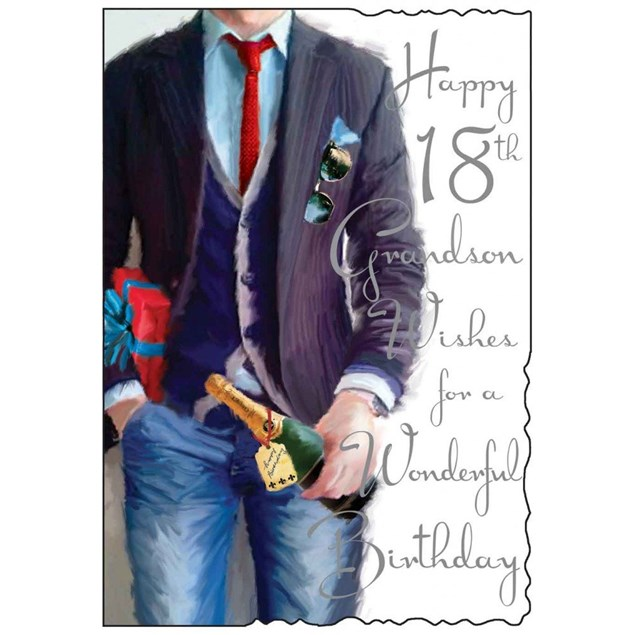 Birthday Age 18 Grandson Card Jonny Javelin - Man Holding A Champaign Bottle