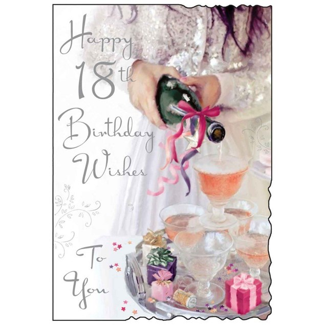 Birthday Age 18 Card - Woman Pouring Champagne
