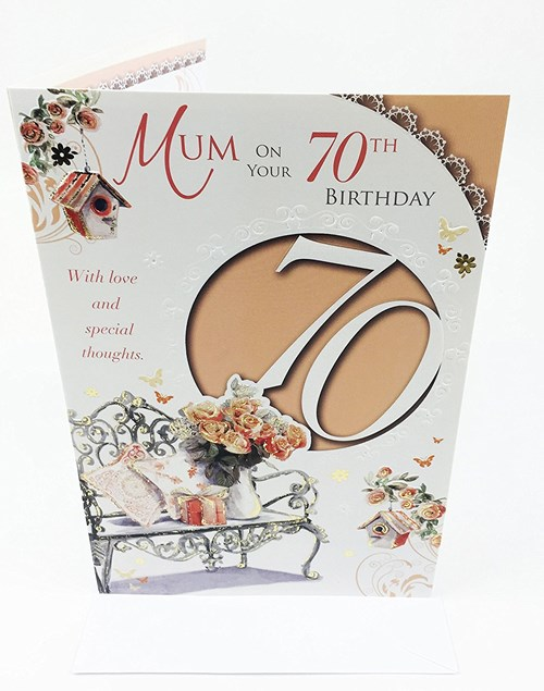 Birthday Age 70th Mum Card - Bouquet Of Flowers & Bench