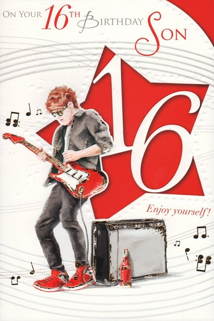 Birthday Age 16 Son Card - Guitarist & Amp