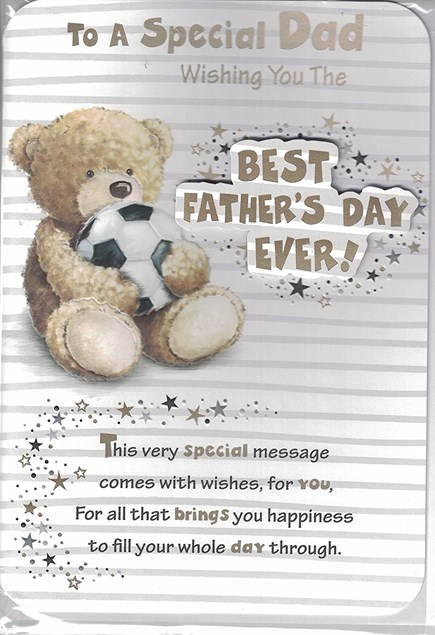 Fathers Day Best Father's Day Ever Card - Cute Bear & Football