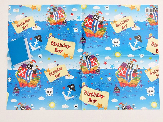Gift Wrap Birthday Children's Blue Pirates Deluxe Paper - 2 Sheets & 2 Tag