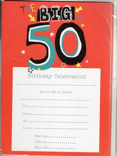Party 50th Birthday Invitations - Pack of 20 With Envelopes