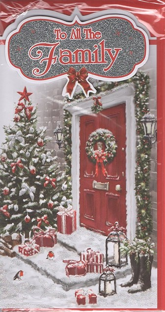 Christmas To All The Family Card - Front Door, Presents & Christmas Reef