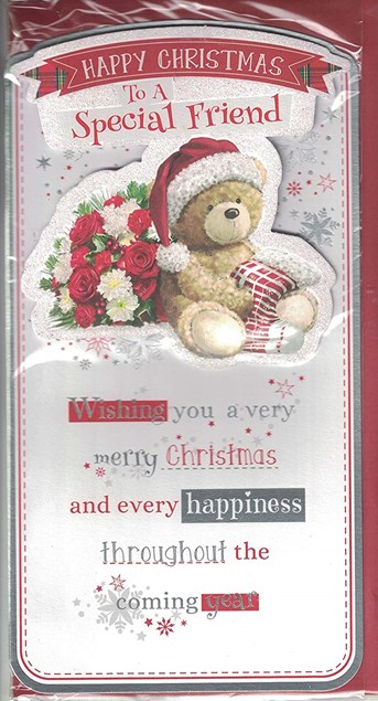 Christmas Friend Card - Cute Bear & Roses