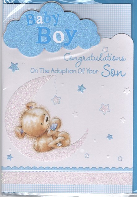 Baby Adoption Of Your Son Card - Baby Bear & Moon
