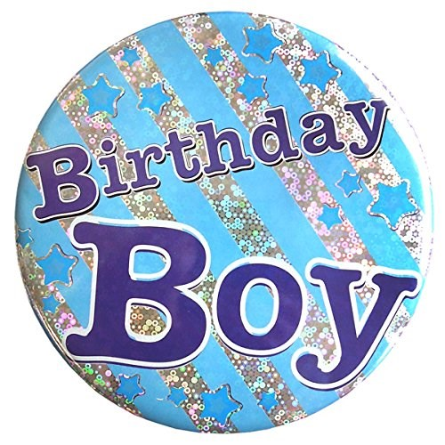 Party Badge Birthday Boy Large Badge - Blue Stripes & Stars