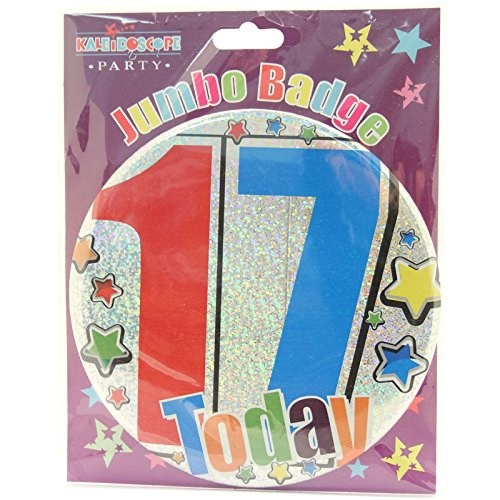 Party Badge 17 Birthday '17 Today' Large Badge - Multicoloured Stars