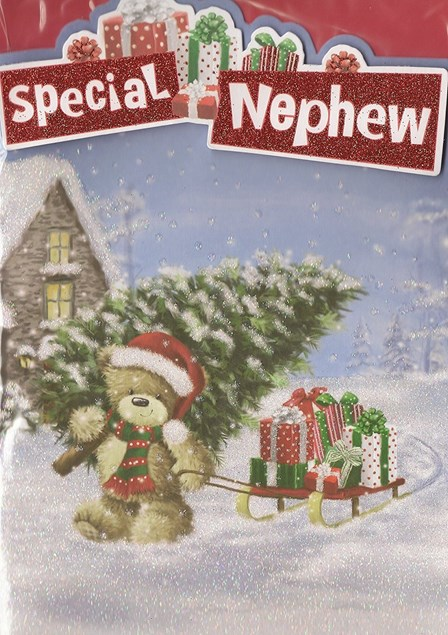 Christmas Nephew Card - Cute Bear With Sled Full Of Presents