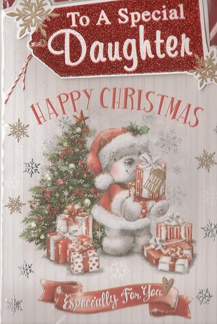 Christmas Daughter Card - Cute Bear With Christmas Tree & Presents