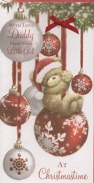 Christmas Daddy Card - Cute Bear Swinging On Baubles