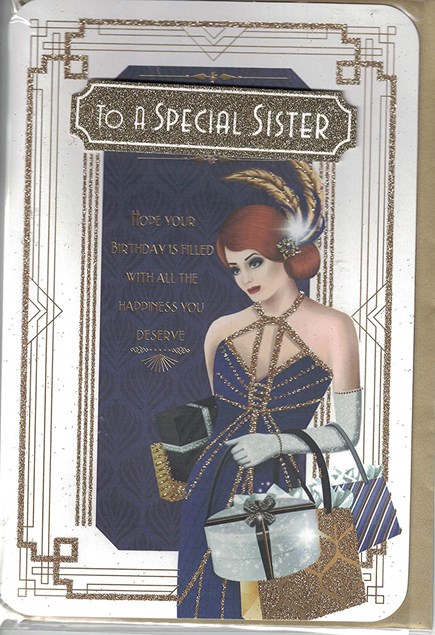 Birthday Sister Card - Art Deco Woman 20's Style Dress