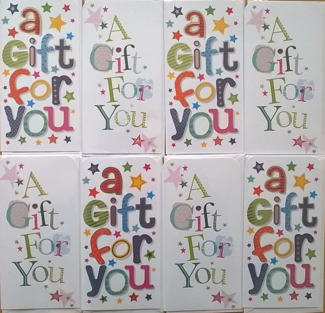 Money Wallet/ Gift Three Fold Cards Assorted Pack Of 8 - A Gift For You