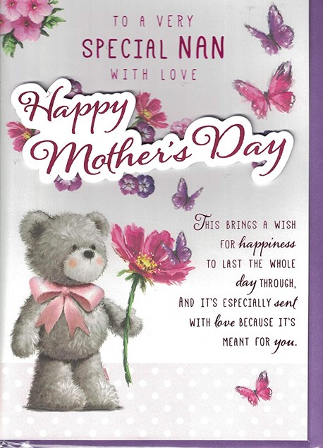 Mother's Day Nan Card - A Cute Bear Surrounded By Flowers And Butterflies
