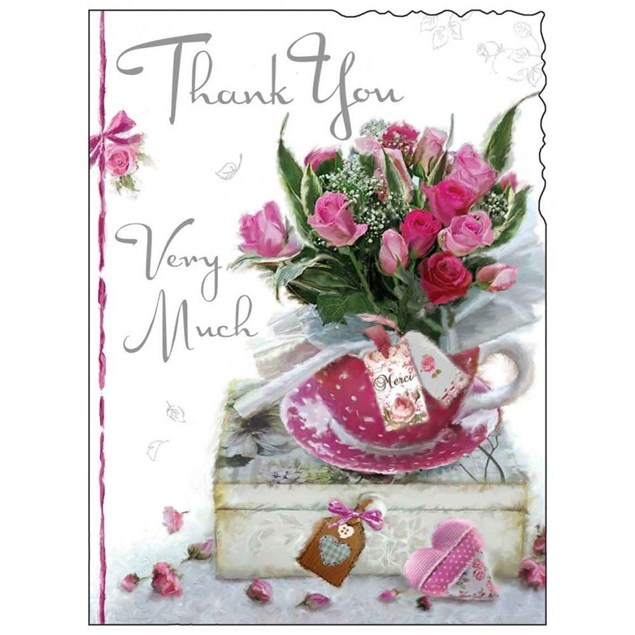 Thank You Card - A Bouquet Of Roses In A Teacup