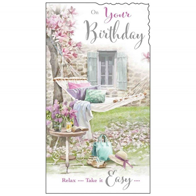 Birthday Female Card - Relax on Your Birthday With a Hammock!