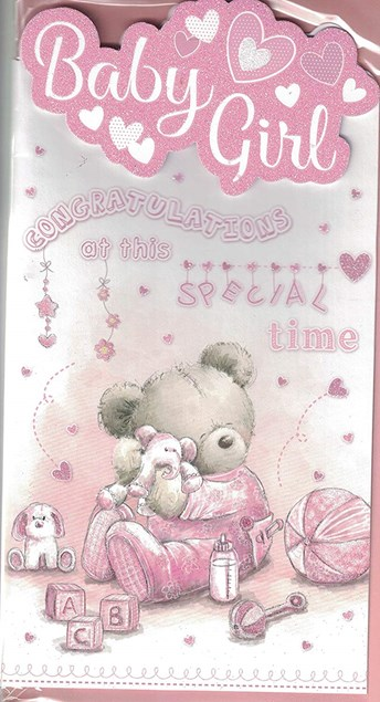 Birth Of Your Baby Girl Card - Cute Baby Bear & Pink Toys