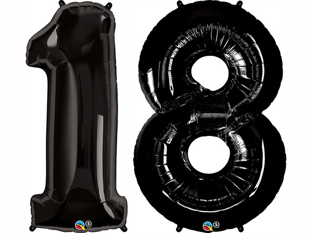 """Qualatex Black Giant 34"""" Number '18' Foil Balloon Pack"""