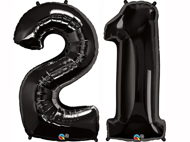 "Qualatex Black Giant 34"" Number '21' Foil Balloon Pack"