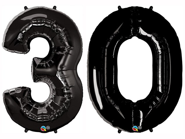 "Qualatex Black Giant 34"" Number '30' Foil Balloon Pack"