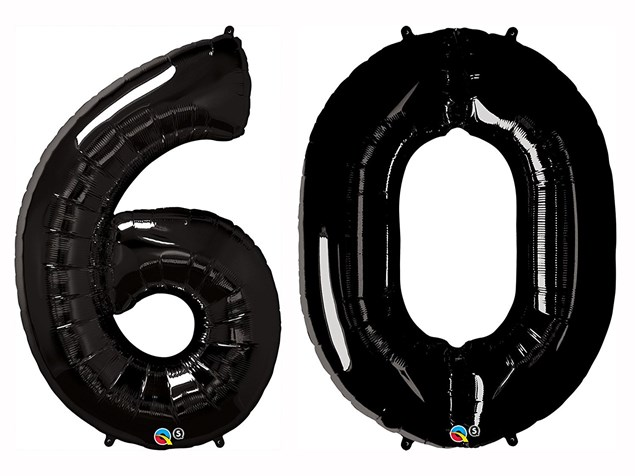 "Qualatex Black Giant 34"" Number '60' Foil Balloon Pack"