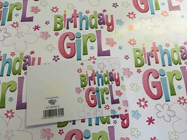 Gift Wrap Birthday Girl & Flowers Paper - 2 Sheets & 1 Tag